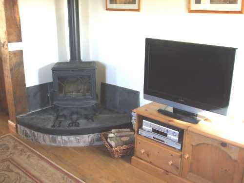 woodburner and tv